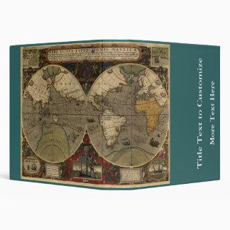 1595 Vintage World Map by Jodocus Hondius 3 Ring Binder