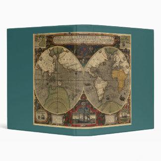 1595 Vintage World Map by Jodocus Hondius 3 Ring Binders