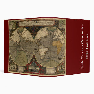 1595 Vintage World Map by Jodocus Hondius Binders