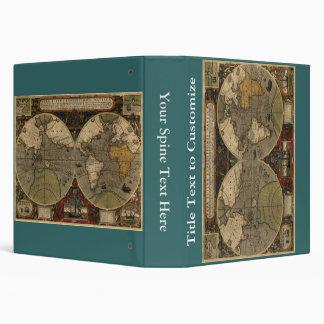 1595 Vintage World Map by Jodocus Hondius Binder