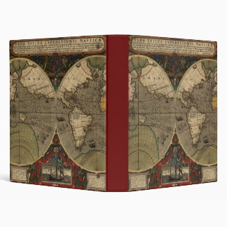 1595 Vintage World Map by Jodocus Hondius Vinyl Binders