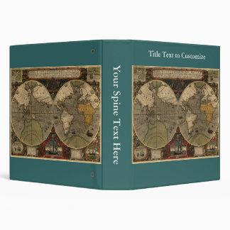 1595 Vintage World Map by Jodocus Hondius Vinyl Binder
