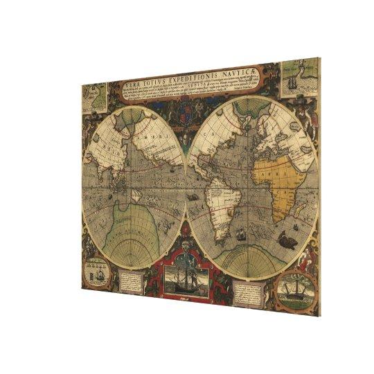 1595 Vintage World Map by Jodocus Hondius Canvas Print