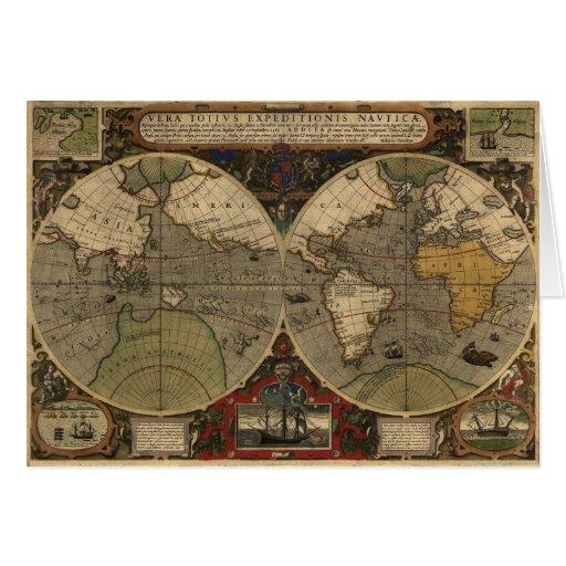 1595 Vintage World Map by Jodocus Hondius Card