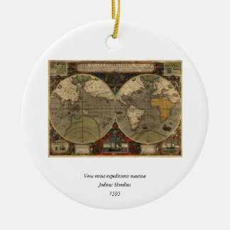 1595 Vintage World Map by Jodocus Hondius Ceramic Ornament