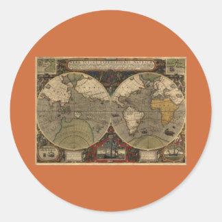 1595 Vintage World Map by Jodocus Hondius Classic Round Sticker