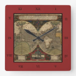 1595 Vintage World Map by Jodocus Hondius Square Wall Clock