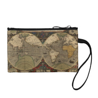 1595 Vintage World Map by Jodocus Hondius Coin Purses