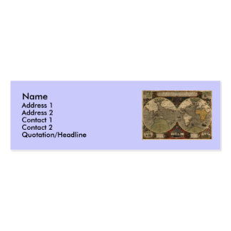 1595 Vintage World Map by Jodocus Hondius Double-Sided Mini Business Cards (Pack Of 20)