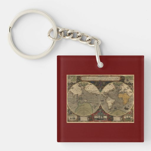 1595 Vintage World Map by Jodocus Hondius Double-Sided Square Acrylic Keychain