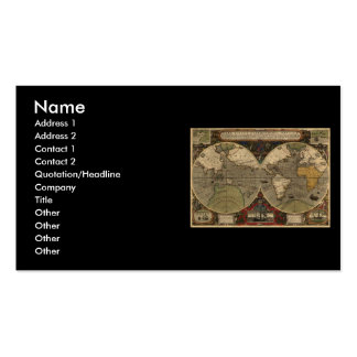 1595 Vintage World Map by Jodocus Hondius Double-Sided Standard Business Cards (Pack Of 100)