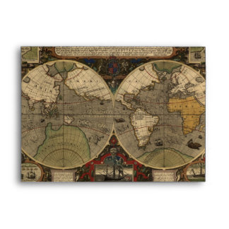 1595 Vintage World Map by Jodocus Hondius Envelope