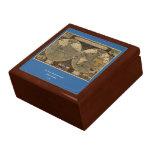 1595 Vintage World Map by Jodocus Hondius Jewelry Boxes