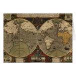 1595 Vintage World Map by Jodocus Hondius Greeting Card