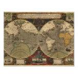 1595 Vintage World Map by Jodocus Hondius 4.25x5.5 Paper Invitation Card