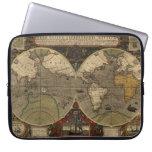 1595 Vintage World Map by Jodocus Hondius Laptop Computer Sleeve