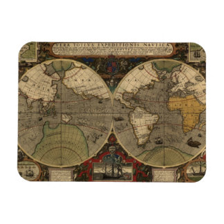 1595 Vintage World Map by Jodocus Hondius Magnet