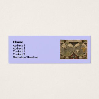 1595 Vintage World Map by Jodocus Hondius Mini Business Card