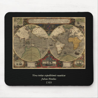 1595 Vintage World Map by Jodocus Hondius Mouse Pads