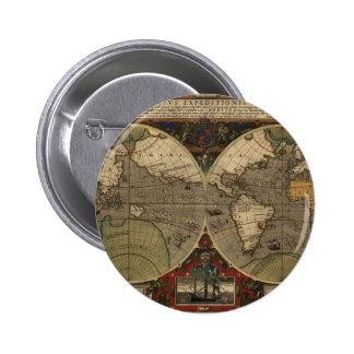 1595 Vintage World Map by Jodocus Hondius Pinback Button