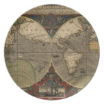 1595 Vintage World Map by Jodocus Hondius Plate