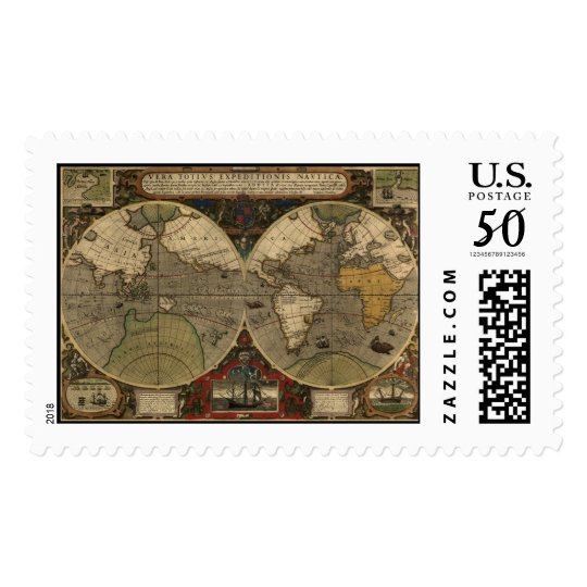 1595 Vintage World Map by Jodocus Hondius Postage
