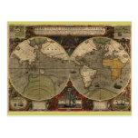 1595 Vintage World Map by Jodocus Hondius Post Cards