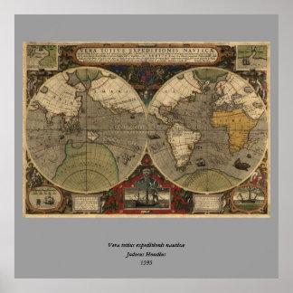 1595 Vintage World Map by Jodocus Hondius Poster