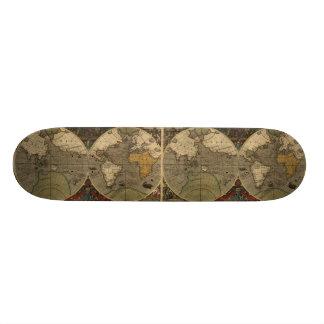 1595 Vintage World Map by Jodocus Hondius Skateboard Deck