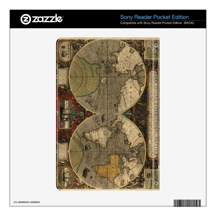 1595 Vintage World Map by Jodocus Hondius Skin For The Sony Reader