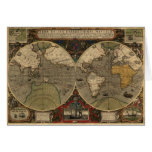 1595 Vintage World Map by Jodocus Hondius Stationery Note Card