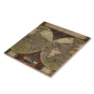 1595 Vintage World Map by Jodocus Hondius Tile