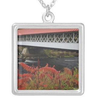159-foot Ashuelot Covered bridge spanning Silver Plated Necklace