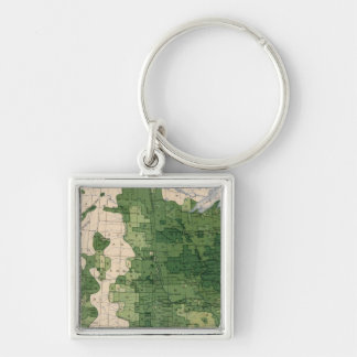 159 Oats/acre Silver-Colored Square Keychain