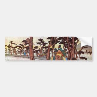 15. 吉原宿, 広重 Yoshiwara-juku, Hiroshige, Ukiyo-e Pegatina Para Auto