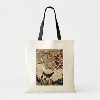 15. 梅花群鶴図, 若冲 Plum Blossoms & Cranes, Jakuchū Tote Bags