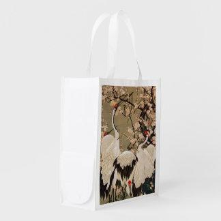 15. 梅花群鶴図, 若冲 Plum Blossoms & Cranes, Jakuchū Grocery Bags