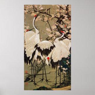 15. 梅花群鶴図, 若冲 Plum Blossoms & Cranes, Jakuchū Poster