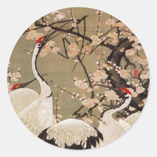 15. 梅花群鶴図, 若冲 Plum Blossoms & Cranes, Jakuchū Round Stickers