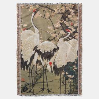 15. 梅花群鶴図, 若冲 Plum Blossoms & Cranes, Jakuchū Throw Blanket