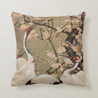 15. 梅花群鶴図, 若冲 Plum Blossoms & Cranes, Jakuchū Throw Pillow