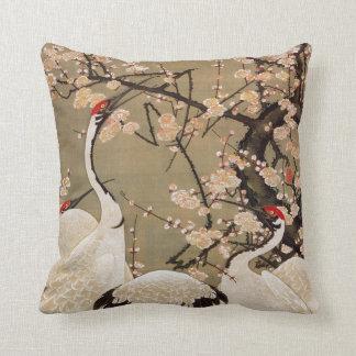 15. 梅花群鶴図, 若冲 Plum Blossoms & Cranes, Jakuchū Throw Pillow