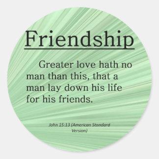 15:13 de Juan de la amistad Pegatina Redonda