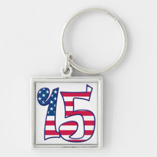 15 Age USA Silver-Colored Square Keychain