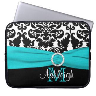 """15"""" Aqua Black White FAUX Ribbon Laptop Sleeve"""