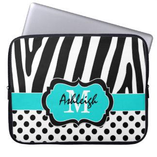 "15"" Aqua Black Zebra Stripes Polka Dot Laptop Case Laptop Computer Sleeves"