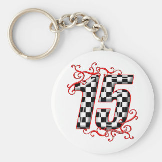 15 auto racing number keychain