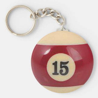 """15 ball"" pool ball design gifts and products basic round button keychain"