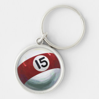 15 Ball Silver-Colored Round Keychain