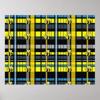 15.Black y la tela escocesa amarilla manosean dise Impresiones